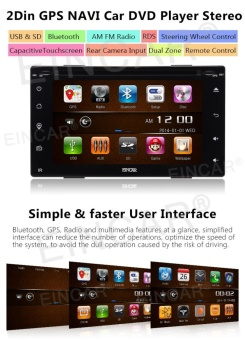 Newest Car Electronics 6.2 Full Touch Screen Car DVD Player Multimedia IN Dash GPS Navigation with Free 8GB GPS Map and Remote Control Car Charger Automotive Stereo System - intl - 2