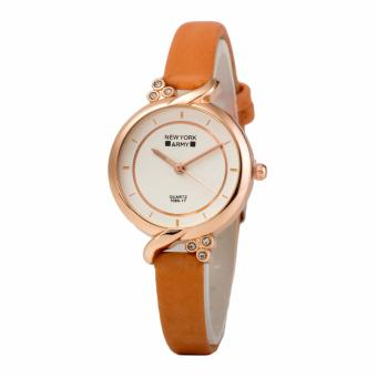 Newyork Army NYA240 Rosegold Case Studs Leather Strap Watch - Light Coffee