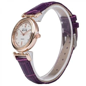 Newyork Army NYA8201 Ladies Rosegold Case Leather Strap Watch - Purple - 2