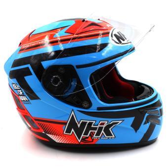 NHK GP Terminator Beyond Full Face Motorcycle Helmet (BlueFlourescent/Orange) - 2