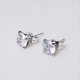 niceEshopRound Cubic Anti Allergic Crystal Ear Stud Earrings (6MM,1 Pair,White) - 5