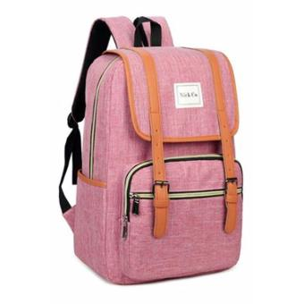 """Nick co 122 Korean Wenjie Style 15.6"""" Multiple Compartments LaptopBackpack Bag(Pink) - 3"""