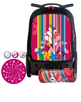 Nikidom Roller RL-9009 Large Bag (Floralia) with Set of Button Pin, Wheel Sticker and Pencil Case