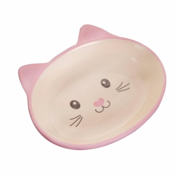 Non-Skid Cat Ear Shaped Cat Dog Bowls Ceramic Pet Feeder for Small Pets Pink_ by WWang - intl - 2