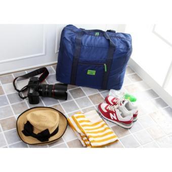 Nylon Folding Suitcase Handbag Storage Luggage Pouch Shoulder ToteTravel Bag Clothes Organizer (Blue) - 3