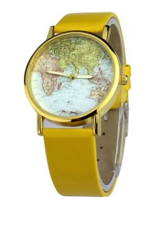 OEM Ladies Retro World Map Design Yellow Leather Strap Watch