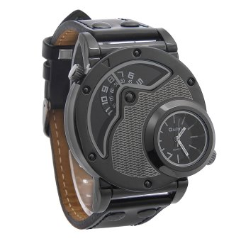 OEM Oulm Russian Military Jam Tangan Pria - Hitam - Strap Kulit - Quartz Movement Watch