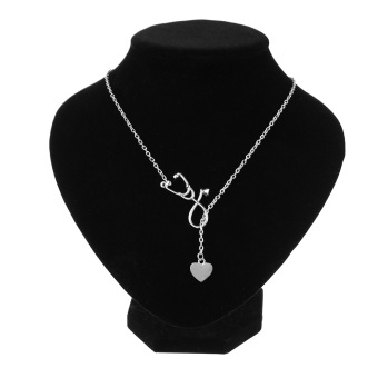 Okdeals 1 Pc 2017 Newest Medical Doctor Nurse Heart Stethoscope Cardiogram Pendant Chain Necklace Jewelry Pendant Necklace - 3
