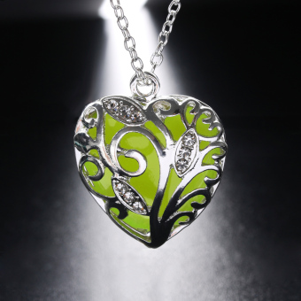 Okdeals Newest Unique Magical Fairy Glow in the Dark Hollow Pendant Locket Heart Luminous Necklace Nice Gift - 2