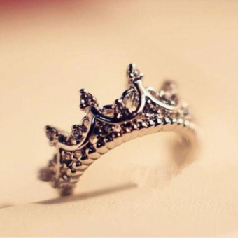 Okdeals Rose Gold Band Rhinestone Rings Queen Crown Princess Women- intl - 3