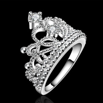 Okdeals Women Princess Wedding Band Zircon Crown Ring Silver
