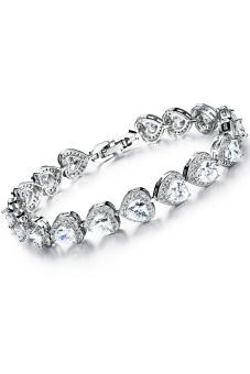 Olen AAA Zircon Heart Alloy Female Bracelet (White)