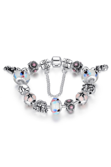 Olen Colorful Flower Chamilia Beads with cat Alloy Bracelet (white)