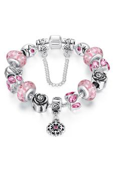 Olen flower Chamilia Beads Alloy Bracelet (pink)