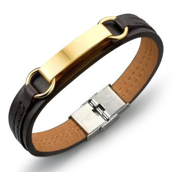 Olen Men's Gold Plated Leather Cross Chain & Link Bracelets (Smooth) (Intl)