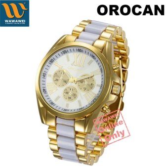 Orocan Three Eyes Strip Women's Two-Tone Stainless Steel Strap(Gold/White)