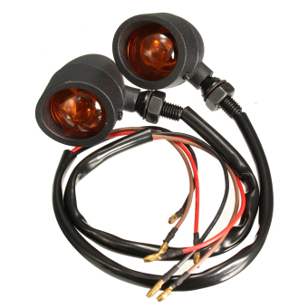 Pair Amber Metal Bullet Turn Signal Lights for Harley Cruiser Chopper Cafe Racer Black