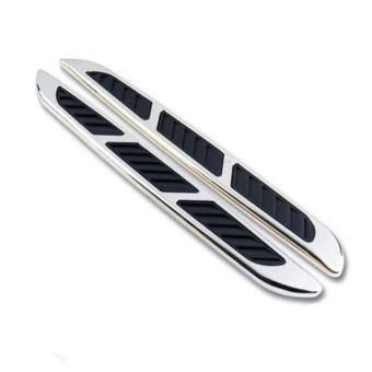Pair Chrome Car Hood Side Air Intake Flow Vent Fender Black Rubber Sticker Cover - intl