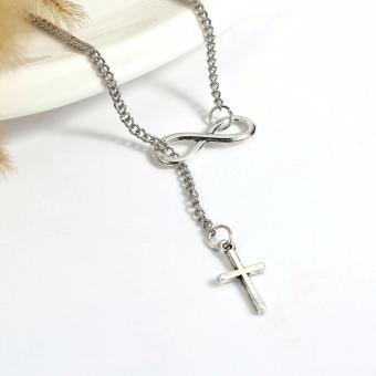 Patrick Lovebird Infinity Cross Crucifix Y Lariat Necklace (Silver Tone) - 3