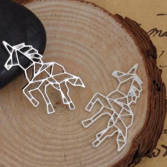 Patrick Lovebird Unicorn Origami Long Necklace (Silver Tone) - 5