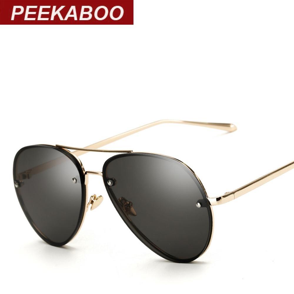 500c71471d2 ... Peekaboo Aviator Sunglasses Clear Tinted Lens Glasses Cheap Fashion  Ocean Eyewear Black Lens Metal Frame Stylish ...