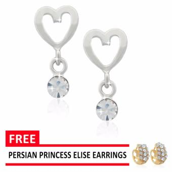 Persian Princess Stainless Steel Silver Pendant Heart Stone Cross Bar Clip Earrings FREE Persian Princess Elise Earrings and Giftbox