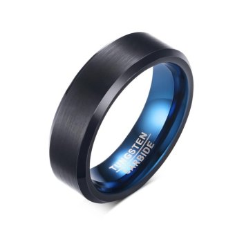 Personality High Quality New Tungsten Inner Ring Blue Outer RingBlack Mens Jewelry Size 7-12 - intl