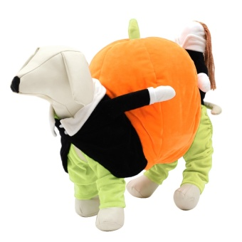 Pet Costume Dog Cat Carrying Pumpkin Clothes for Party PhotoHalloween Fancy Costumes Jacket Apparel M - intl