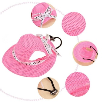 Pet Hat With Ear Holes Bowknot Mesh Breathable Dog Hiking Pets Products(Size:S) - intl - 3