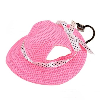 Pet Hat With Ear Holes Bowknot Mesh Breathable Dog Hiking Pets Products(Size:S) - intl - 2