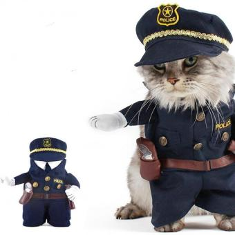 Pet Policeman Pet Dog Cat Costume Jeans Clothes Funny Apperal 2 -intl - 3