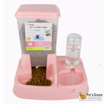 Pet's Dream Pet Dog Cat 2 In 1 Automatic Food Water Feeder (Red) - intl - 2