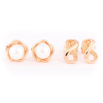 Piedras everyday jewelry Two in one set brass in 18k gold plated stud earrings
