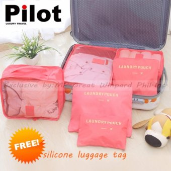 Pilot Korean Style 1002 Travel Accessories 6-piece Travel OrganizerSet Big Size Mesh Bag Best Gift With Free Luggage Tag (LightOrange)