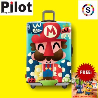 Pilot Korean Style Travel Accessories 18-20 Inches(S)ElasticCartoon Lovely Luggage Protector Waterproof Spandex Travel SuitcaseCover Trolley Case( Mario)FREE Luggage Tag