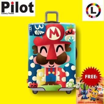 Pilot Korean Style Travel Accessories 26-28 Inches(L)ElasticCartoon Lovely Luggage Protector Waterproof Travel Suitcase CoverTrolley Case( Mario)With FREE Luggage Tag