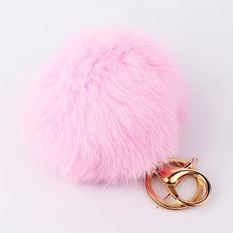 Pink Rabbit Fur Ball PomPom Cell Phone Car Keychain Pendant HandbagCharm Key Ring