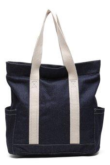 Pockets Denim Tote Bag (Blue)