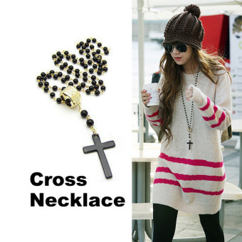 Pop Golden Ring Black Bead Cross Long Necklace L (Intl) - picture 2