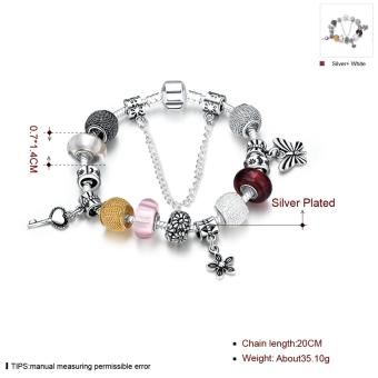 Popcorn H005-B Heart Tag Charm Silver Plated Bracelet with Zircon Inlay - 2