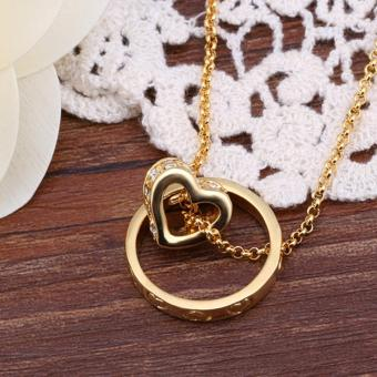 Popcorn N591 Gold Plated Beads Chain Heart & Ring Pendant Necklace - 3