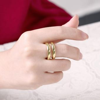 Popcorn R064-A Korea Bicyclic Opening & Adjustable WeddingRing(Gold) - 5