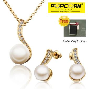 Popcorn S314 Pearl and Czech Stones Pendant Necklace Jewellery Set (Gold Plated)
