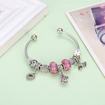 Popcorn YW-GSH163-6.5 Carved Lucky Beads & Four Leaf Clover with Heart & Flower & Geometric Pendant Pandora Bangle Bracelet - 4