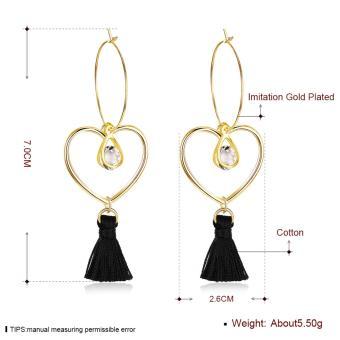 Popcorn YW-LXE015 Bohemia/Korean Style Hollow Heart-Shaped With Water Drop Diamond Tassel Dangle Earrings - 2
