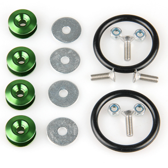 POSSBAY Universal Quick Release Fasteners Bolt Kit for Car BumperHatch Lid Green 6mm Aluminum