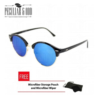 Premium Round Clubmaster 4253_Blue Classic Sunglasses with BLue Flash And Replaceable Lenses Unisex