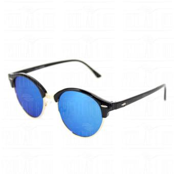 Premium Round Clubmaster 4253_Blue Classic Sunglasses with BLue Flash And Replaceable Lenses Unisex - 4