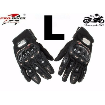 Pro-Biker Carbon Fiber Bike Motorcycle Motorbike Racing Gloves Black (L)