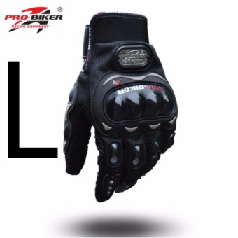 Pro-Biker Carbon Fiber Motorcycle Motorbike Racing Gloves Full Size Black (L)